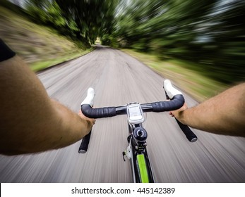 riding fast on bicycle. Original point of view