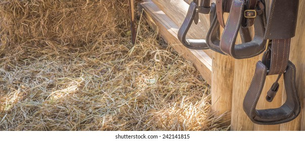 riding horse equipment hang on wooden fence