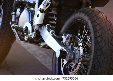 Riding a motorcycle. Details of a motorcycle close-up.