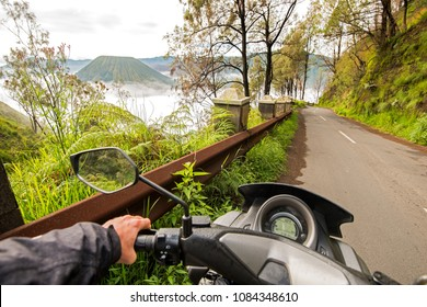 riding a motorcycle in Indonesia, Java and volcanoes, beautiful views