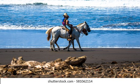 Riding on the beach. Costa Rica, natural paradise
