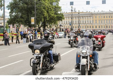 Riding on a motorcycle people. St. Petersburg, Russia - 13 August, 2016. The annual parade of Harley Davidson in the squares and streets of St. Petersburg.