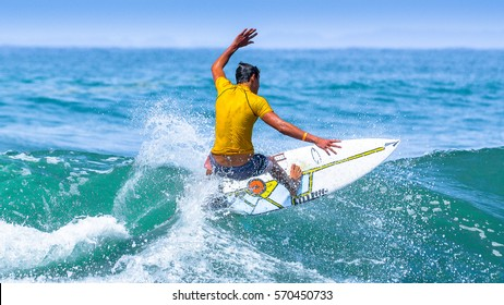 Riding on the waves. Costa Rica, surfing paradise