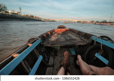 Riding a Sampan (vietnamese wooden boat) to Cai Rang Floating Market in Can tho, Vietnam