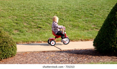 Riding a tricycle
