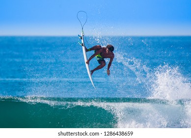Riding the waves. Carlos Munoz, number 35 Men's QS 2018. Costa Rica, surfing paradise