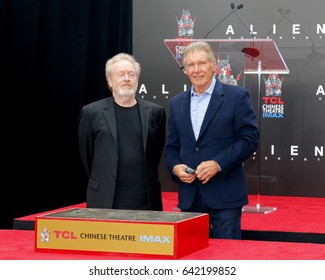 Ridley Scott and Harrison Ford at Sir Ridley Scott Hand And Footprint Ceremony held at the TCL Chinese Theatre IMAX in Hollywood, USA on May 17, 2017.