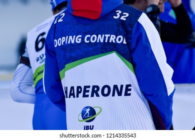 Ridnaun/Val Ridanna, Italy - JANUARY 26, 2018: Chaperone works during Biathlon Open European Championships