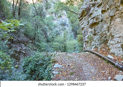 The Ridomo gorge in Taygetus Mountain. The Gorge is deep and rich in geomorphological formation elements located near Kentro Avia and Pigadia Villages in Mani area, Messenia, Greece