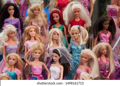 Riedisheim - France - 7 Septembre 2019 - Closeup of Barbie dolls collection at flea market in the street