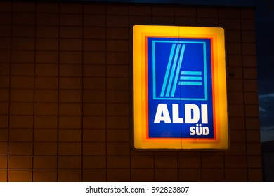 RIEDSTADT, MARCH 01, 2017 - Illuminated sign of German discount supermarket Aldi Süd