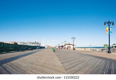 Riegelmann Boardwalk in Coney Island, NY.
