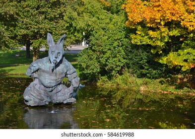RIEHEN, SWITZERLAND - OCTOBER 01, 2013: Thomas Schutte Rabbit statue at the  Fondation Beyeler modern art museum. Thomas Schutte  is a German contemporary artist. He lives and works in Düsseldorf