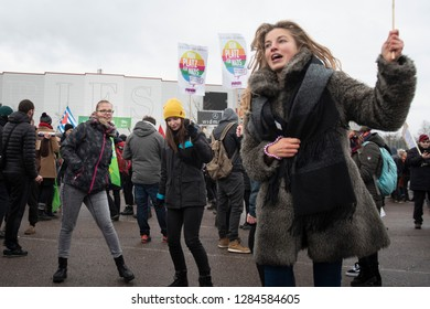 Riesa, Saxony, Germany - January 12, 2019: Approx. 1000 demonstrators march in the Saxony town of Riesa to protest against the right-wing political party AfD holding its national conference there.