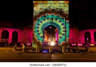 RIETI, ITALY - 23 december 2018; The roman arch at Porta Romana square in during the Christmas holidays with lights decorations.