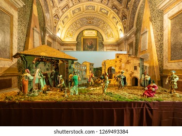 Rieti, Italy - 27 December 2018 - The historic center of the Sabina's provincial capital, during the Christmas holidays with lights decorations. Here a beautiful Nativity scene.