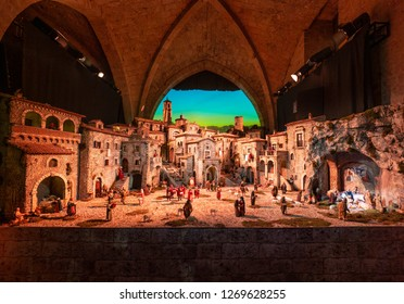 Rieti, Italy - 27 December 2018 - The historic center of the Sabina's provincial capital, during the Christmas holidays with lights decorations. Here the beautiful medieval Nativity scene