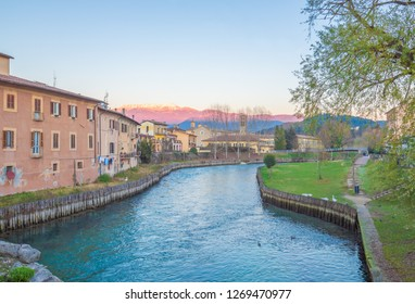 Rieti (Italy) - The historic center of the Sabina's provincial capital, under Mount Terminillo with snow and crossed by the river Velino.