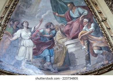 RIETI, ITALY- JULY 14, 2014: interior of the medieval duomo, in baroque style. Church built in 12th and 13th century, catholic place of worship. Dome, detail of painting