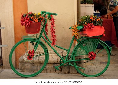 RIETI, ITALY, September 2018. Decorations at the market on the occasion of the traditional chili festival