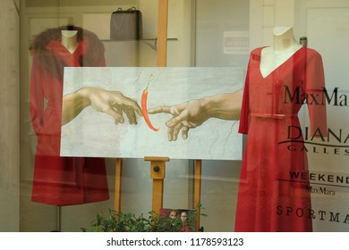 RIETI, ITALY, September 2018. High fashion shop preparationon for the occasion of traditional chili festival