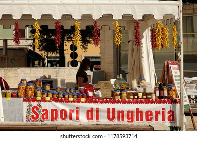 RIETI, ITALY, September 2018. An hungarian stand at the market on the occasion of the traditional chili festival