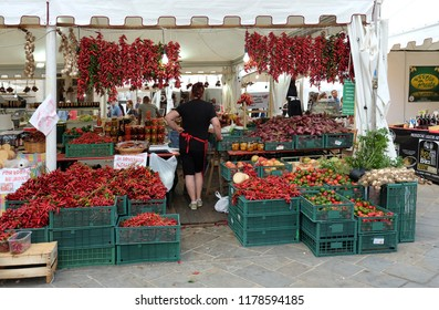 RIETI, ITALY, September 2018. Sale of chili pepper at the market on the occasion of the traditional chili festival