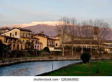 Rieti (Italy) - View of  Mount Terminillo with snow and the river Velino in front of the historic city.
