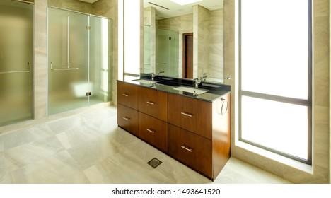 RIFFA, BAHRAIN - MARCH 02, 2019: Interior bathroom space of a modern villa in a Middle Eastern, high-end, luxury housing development.