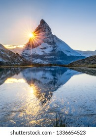 Riffelsee and Matterhorn mountain in Swiss, Canton of Valais, Switzerland