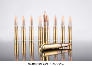 rifle ammunition bullet  in white background