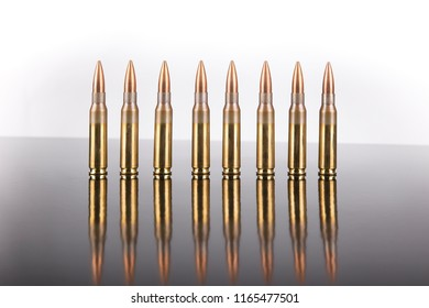 rifle ammunition cal.308 in white background  bullet