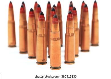 rifle bullet over white background