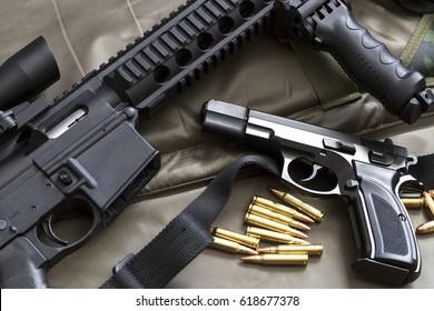 Rifle with handgun and ammunition