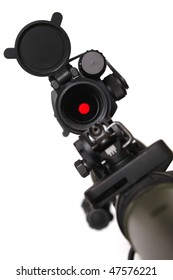 Rifle with red dot sight on it. Close-up shot, shallow DOF.