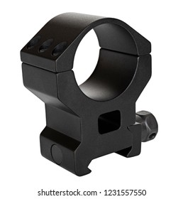 Rifle scope mounts that are metal and black on a white background
