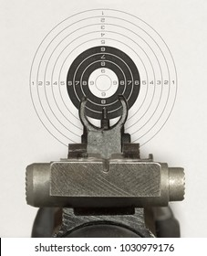 Rifle sighting bar, front sight and target