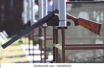 Rifle for sports shooting at skeet on the shooting range