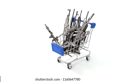 Rifles on a shopping cart isolated on white background with clipping path,