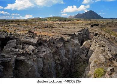Rift in Myvatn District, Iceland