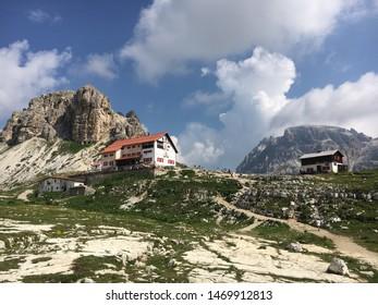The Rifugio Locatelli, mountain refuge, inside the three peaks of Lavaredo (tre cime di Lavaredo) natural park part of the UNESCO world heritage.