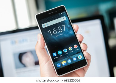 RIGA, AUGUST 2017 - A brand new silver finish Nokia 6 smartphone is displayed for editorial purposes