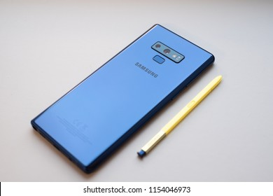 RIGA, AUGUST 2018 - Recently launched Samsung Galaxy Note 9 smartphone is displayed for editorial purposes. Shallow focus effect.