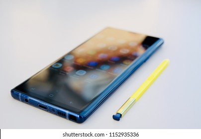 RIGA, AUGUST 9, 2018 - Just officially unveiled Samsung Galaxy Note 9 smartphone is displayed for editorial purposes. Shallow focus effect