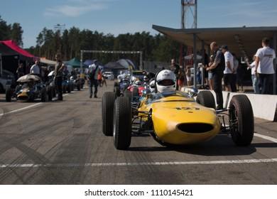 Riga, Bikernieki raceway, LV - JUN 9, 2018: BaTCC racing round 2 Old Classic Formula Junior on pit lane
