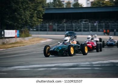 Riga, Bikernieki raceway, LV - JUN 10, 2018: BaTCC racing round 2 1961 Formula Junior Lotus 20 on raceway