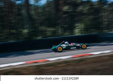 Riga, Bikernieki raceway, LV - JUN 10, 2018: BaTCC racing round 2 1961 Lotus 20 on raceway