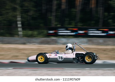 Riga, Bikernieki raceway, LV - JUN 10, 2018: BaTCC racing round 2 old classic Formula Junior