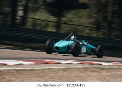 Riga, Bikernieki raceway, LV - JUN 10, 2018: BaTCC racing round 2 Old clsssic Formula Junior rides on raceway