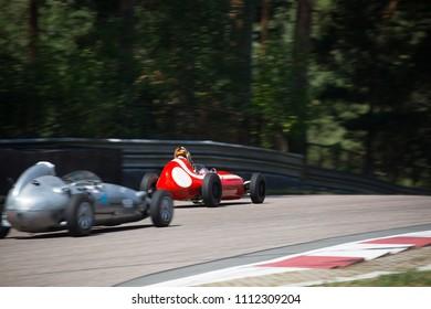 Riga, Bikernieki raceway, LV - JUN 10, 2018: BaTCC racing round 2 Old clsssic Formula Junior overtake on raceway